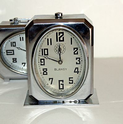 French Art Deco Chrome Clock by Blangy 1937- 'Ideal' vertical - Fully Working