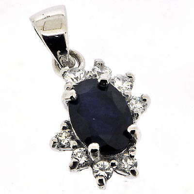 .925 Sterling Silver Natural Sapphire & White CZ Pendant