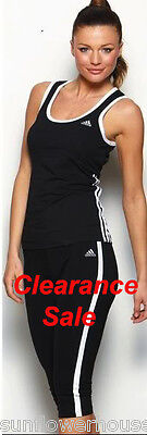 ADIDAS ladies 3-Stripe sports tank top built in bra singlet yoga gym girls 3S
