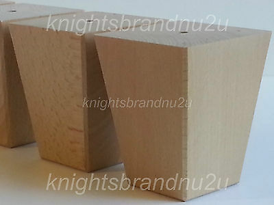 4x WOODEN BLOCK FURNITURE LEGS FEET FOR SOFAS, SETTEES, CHAIRS & FOOTSTOOLS