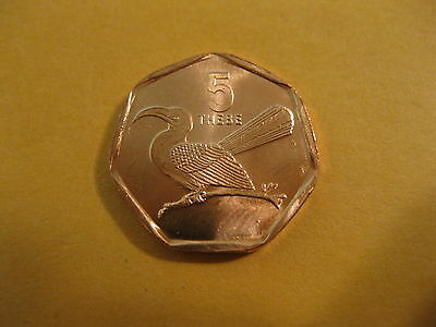 "1998 Botswana coin,  5 Thebe,  ""TOKO BIRD""  animal, Africa coin, bird"
