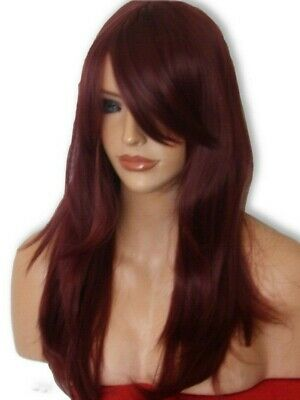 Red Wine Wig Women Fashion Party  skin top Long Full Flick Fringe Ladies Wig K16
