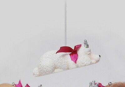 Katherine's collection white poodle puppy dog Christmas ornament sleeping girl