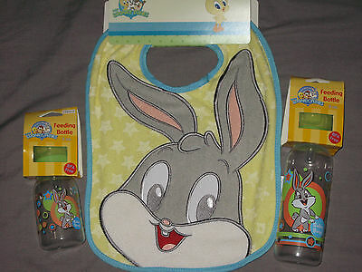 Baby Looney Tunes Embroidered Bugs Bunny Terry Bib Bottles Feeding NEW!