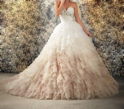 Ball Gown Sweetheart Beads White/Ivory Organza Wedding Dress Size 6 8 10 12 16++