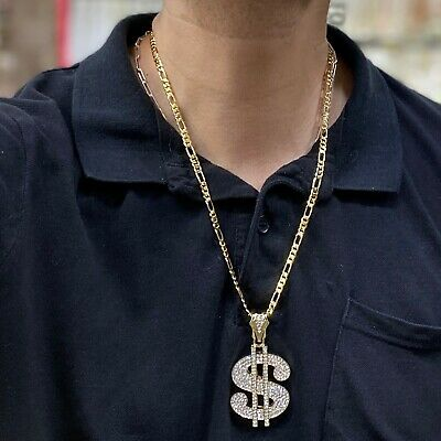 Iced-Out Dollar Sign Gold Tone Hip Hop $ Pendant Figaro Link Rapper Bling Chain