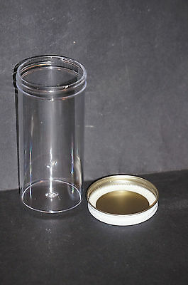 Plastic Vial Jar Bottle with Metal Screw Lid Brand New