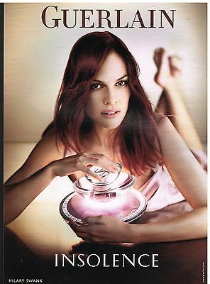 "Publicité Advertising 2007 Parfum ""Insolence"" Guerlain avec Hilary Swank"