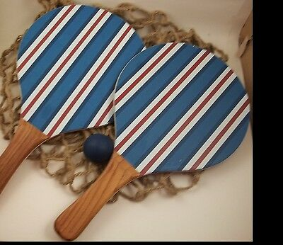 POTTERY BARN PADDLE BALL NEAT SPORTS EQUIPMENT USE OR WALL HANG DEN MAN CAVE
