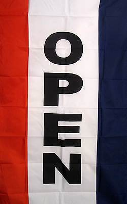 Open (Vertical) Red White & Blue 3x5 Flag New Business!