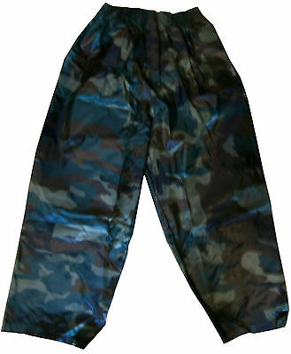 Boys Girls Childern  Camoflage Shower Proof Over Trouser Size 3 To 13