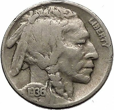 1936 BUFFALO NICKEL 5 Cents of United States of America USA Antique Coin i43841