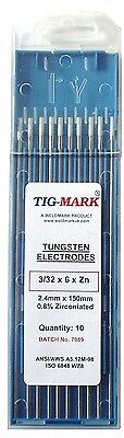 Pk 10 1.0mm x 150mm ZIRCONIATED WHITE TIPPED TUNGSTEN ELECTRODES