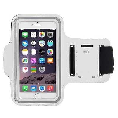 "iPhone 6 4.7"" White Premium Sports Armband Cover Case Running Gym Workout"