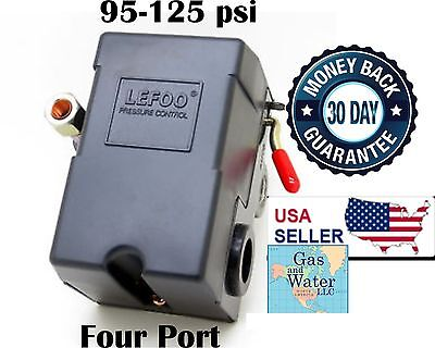 Air compressor control switch 95-125 psi FOUR 4 PORT Universal Replacement