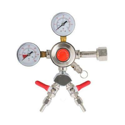 "Chrome Draft Beer Co2 Regulator with 2 Outputs, 5/16"" Shutoffs CHR2X5/16"