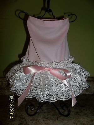 Baby Pink  Polyester and Lace female dog clothes, dress sz Medium (M).US seller.