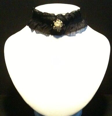 Victorian Wedding Jewellery Carved Floral Cameo Black Ruffle Choker Necklace