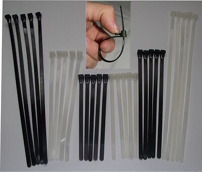 Reusable Releasable Cable Ties Zip Wrap Strap Tidy NATURAL BLACK 150 200 300