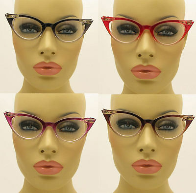 New Clear Lens Cat Eye Glasses Retro Vintage Style Women's Fashion Crystal Stone