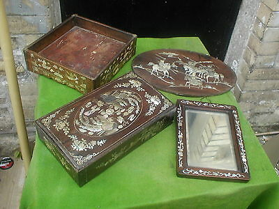 ANTIQUE 19TH CENTURY CHINESE COLLECTION OF HARDWOOD INLAID MOTHER OF PEARL ITEMS