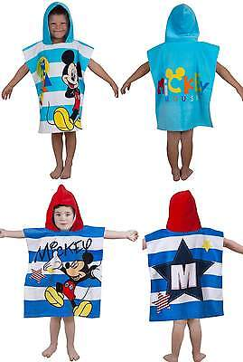 Disney Mickey Mouse Kids Character Hooded Poncho 100% Cotton Beach Bath Towel