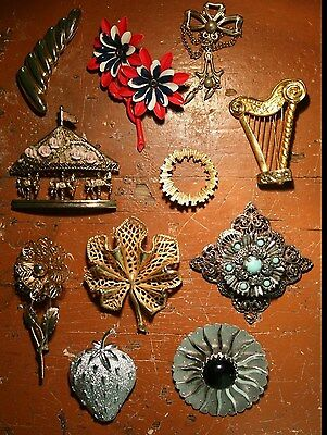 Vintage Jewelry Brooches - Lot Of 11