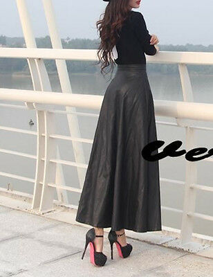 Gonna Lunga Donna Simi Pelle - Woman Maxi Skirt PU Leather  -  130016