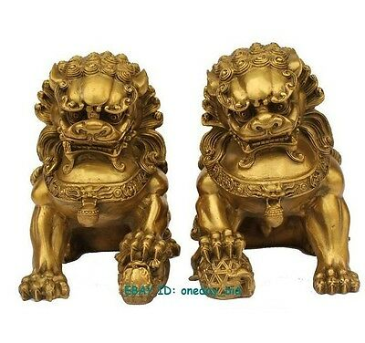 "Large Pair Bronze Chinese Lion Foo Dog Statue Figure Sculpture Gold Color 6.5""H"