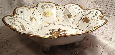 "VINTAGE ""REICHENBACH"" GERMANY WHITE PORCELAIN WITH GOLD TRIM FOOTED BOWL - 1980S"