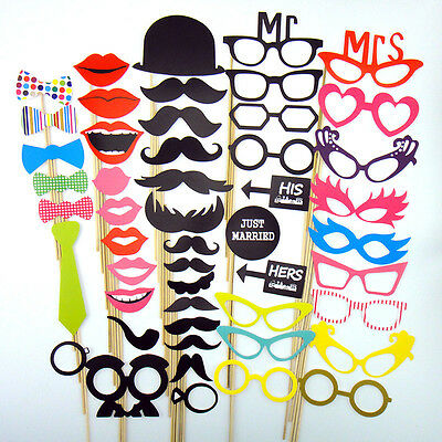 50pcs Photo Booth Props Moustache on A Stick Weddings Christmas Birthday Party