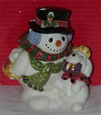 Fitz And Floyd Classics Christmas Frosty Folks Snowman Puppy Candy Jar Handcraft