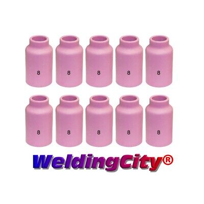 WeldingCity 10 Ceramic Gas Lens Cups 54N14 (#8) for TIG Welding Torch 17/18/26
