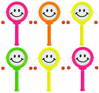 6 Mini Smiley Face Hand Drums - Pinata Toy Loot/Party Bag Fillers Wedding/Kids