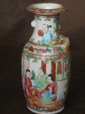 Fine Antique Chinese mid 18th C  Canton Famille Rose Medallion  Cabinet Vases