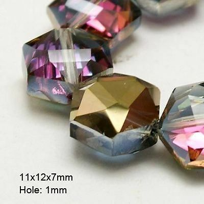 20pcs Mixed Electroplate Faceted Half Plated Hexagon Glass Beads X-EGLA-D022-M