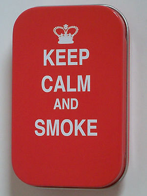 new slim 1oz hinged tobacco tin keep calm and smoke & rolling papers