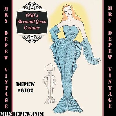Vintage Sewing Pattern 1950's Mermaid Siren Gown in Any Size Depew #6102