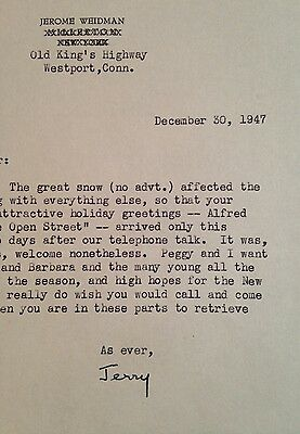 Typed letter signed by JEROME WEIDMAN Pulitzer Prize winning playwright novelist