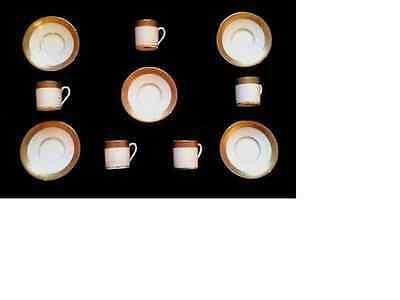 10 Piece Porcelain Gold Accented Trim Cups With Matching Saucer Plates -Germany-