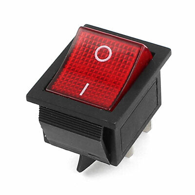 AC 250V 16A/AC 125V 20A ON/OFF 4 Pin Red Indicator DPST Snap in Rocker Switch