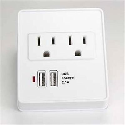 2PACK- 2 Outlet Surge Protected Wall Tap with 2 USB Charging Ports (2.1A)