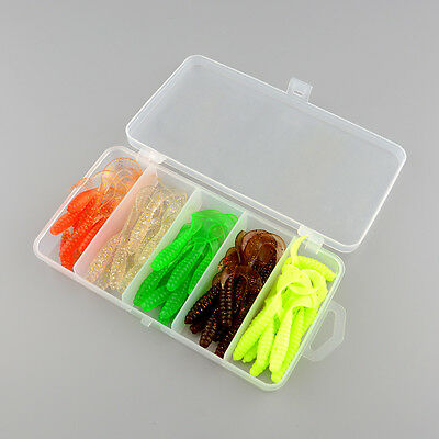 50x Bionic Single Tail Soft Baits Fishing Lures w/Fish Tackle Box Durable NEW