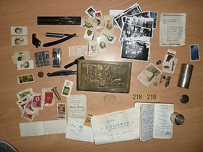 Vintage Jacob tin with photos. whistle. cut throat cigarette cards and silk plus