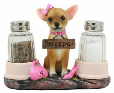Pink Ribbon Spicy Sweet Chihuahua Dog Salt and Pepper Shakers Holder Home Decor