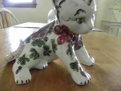 Vintage Cat Figurine ~ Italian Art Pottery ~ Hand Painted Floral Design