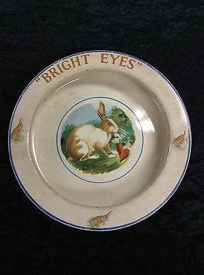 """Antique Baby Plate Dish ELP Co. USA Bunny Rabbit """"Bright Eyes"""" Great Plate"""