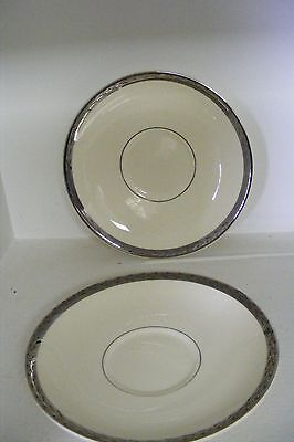 Taylor Smith & Taylor 2 Saucers Pattern 6403 Cream with Silver Band w/ leaves