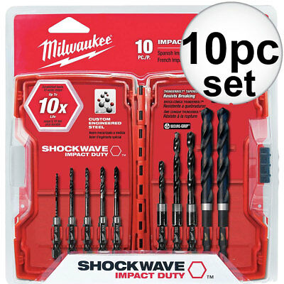 10pc Shockwave Hex Shank Drill Bit Set Milwaukee 48-89-4445 New