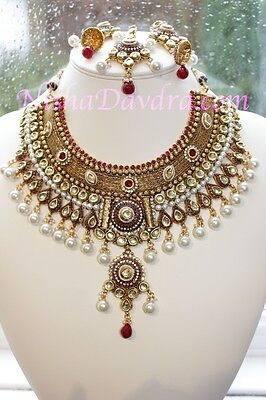 Indian Bollywood Kundan Polki Pearl necklace set with Tikka and Earrings